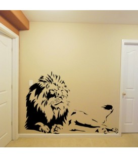 Laying Lion decorative wall art sticker, tiger wall decal.