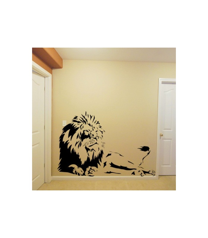 Laying lion wall sticker, tiger wall decal, tiger wall graphics.