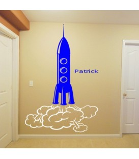 Space rocket personalized boys bedroom wall sticker kit.