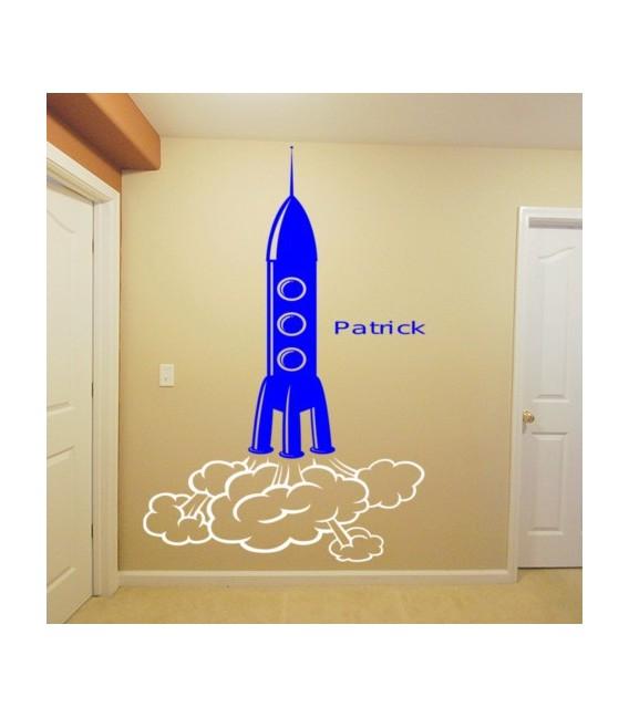 Space rocket personalised girls bedroom wall sticker kit.