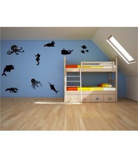 Sea creatures bedroom or bathroom wall art stickers.