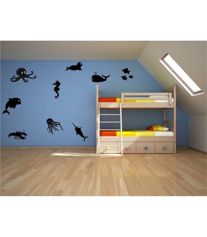 sea creatures bedroom or bathroom wall art stickers