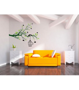 Bedroom big tree branch and birds cage wall art sticker.