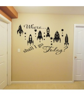 Space rockets boy bedroom wall sticker, rocket wall decal.