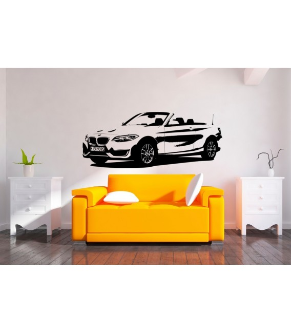 BMW2 car wall decal, boys bedroom decorative wall sticker.