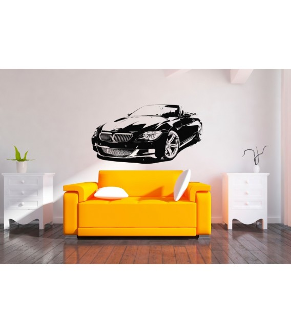 BMW m6 convertible wall decal, boys bedroom decorative wall sticker.