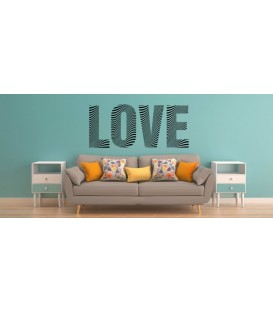 Love word romantic zebra pattern wall art sticker, bedroom wall decals.