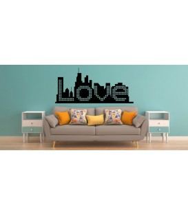 Love word on the city ckyline romantic wall art sticker, bedroom wall decals.