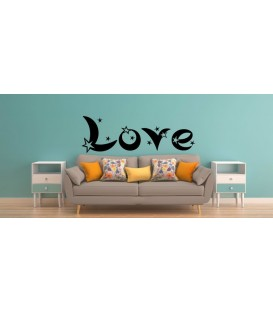 Love word and stars romantic wall art sticker, bedroom wall decals.