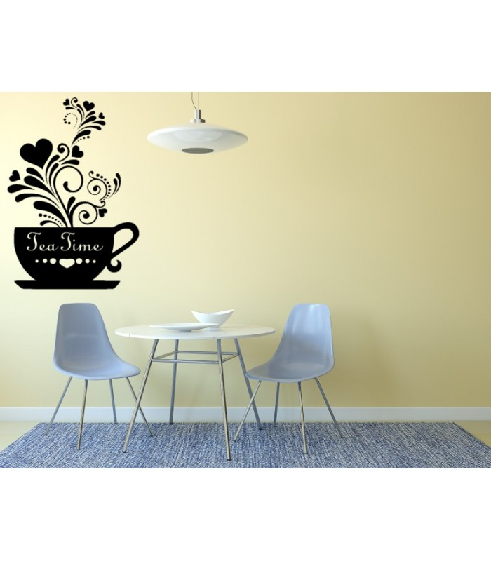 Tea Time kitchen wall decals cup of tea decorative wall decals.