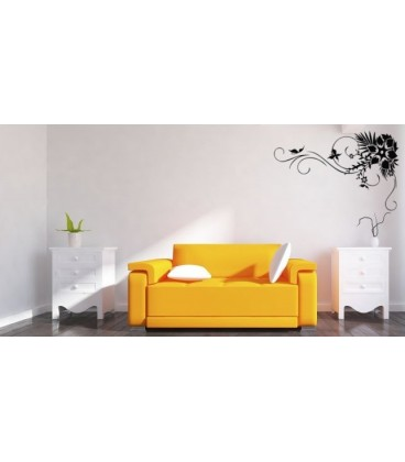 Livingroom Big Flower And Butterflies Wall Decal, Butterfly On The Flower  Wall Art.
