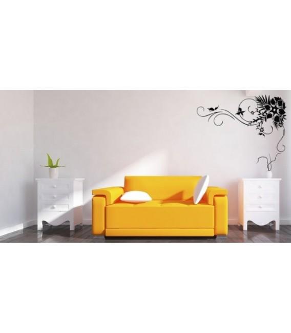 Livingroom big flower and butterflies wall decal, butterfly on the flower wall art.