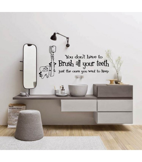 Brush your teeth bathroom funny wall art sticker.