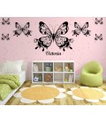Butterfly on the flower wall decal, butterfly on the flower giant art wall sticker, wall graphics.