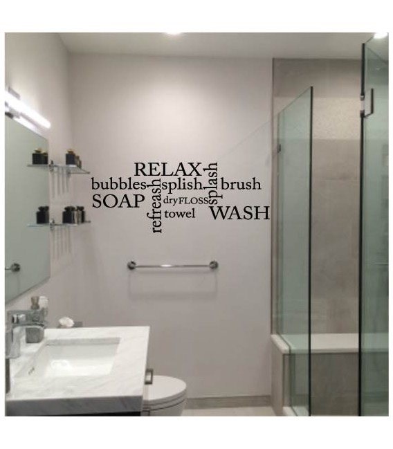Relax bathroom quotes funny wall art sticker.