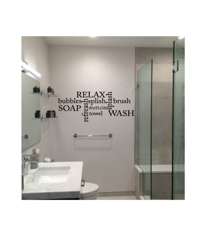 Relax bathroom quotes funny wall art sticker for Bathroom wall decor uk
