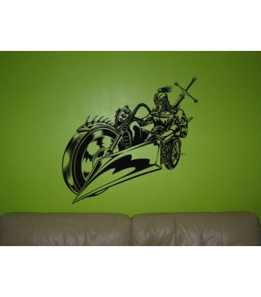 Knight motorbike rider teenager bedroom wall art sticker.