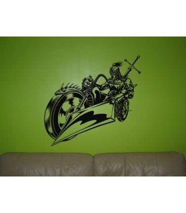 Knight motorbike rider teenager bedroom wall art sticker.
