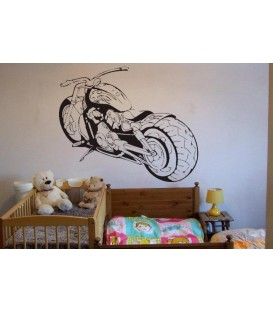 Motorcycle, teenager bedroom art wall sticker, super motorbike wall decal.