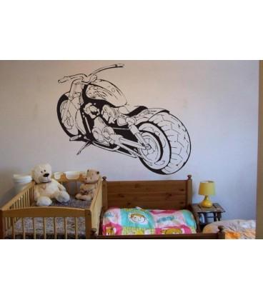 Motorcycle, Teenager Bedroom Art Wall Sticker, Super Motorbike Wall Decal.