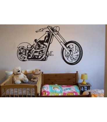 Chopper motorbike wall decal boys bedroom wall art sticker, wall graphics.