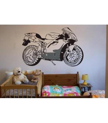 Super motorbike silhouette boys bedroom giant art wall sticker, motorbike wall decal.