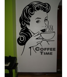 Coffee Time wall decal kitchen wall art stickers.