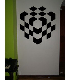 3D chess cube wall art sticker.