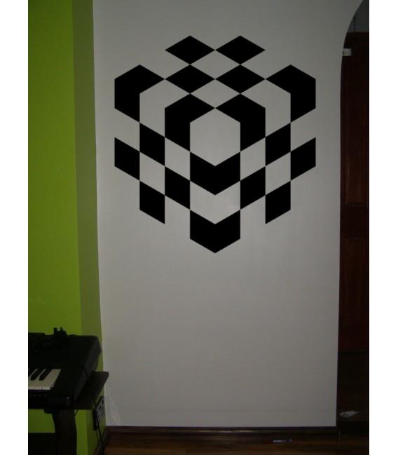 3D chess cube wall art sticker.