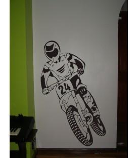 Motocykl krosowy i motocyklista naklejka scienna do dekoracji pokoju nastolatka, grafika scienna.