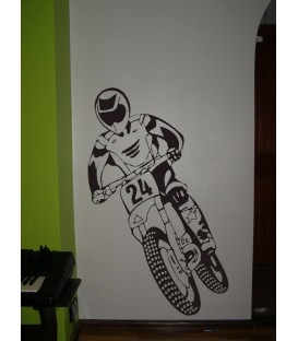 Off-road motorbike and motorcyclist, teenager bedroom wall stickers.