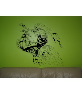Skeleton on the motorbike, teenager bedroom wall sticker.