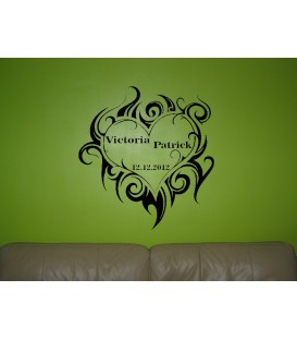 Personalised tribal heart romantic wall art sticker.