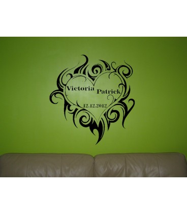 Personalised tribal heart romantic wall art sticker, bedroom wall decals.