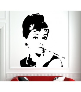 Audrey Hepburn vinyl wall stickers, Audrey Hepburn's eyes wall decal.