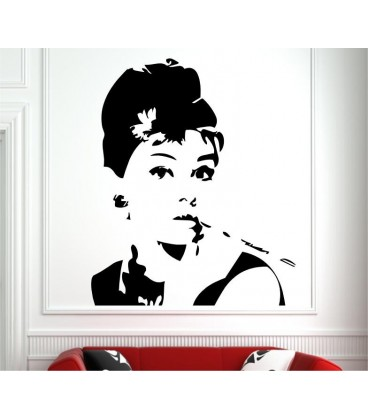 Audrey Hepburn vinyl wall stickers, Audrey Hepburn's eyes wall decal.
