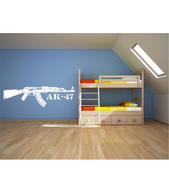 AK-47 machine gun wall art sticker decal, AK-47 wall decal.