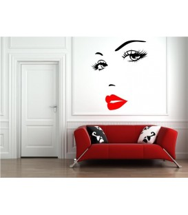 Woman's face as wall sticker.