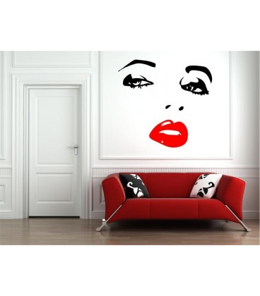 Woman's face wall art sticker, woman wall decal.
