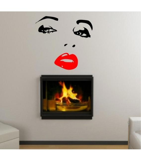 Woman's face wall art sticker, woman wall decal.