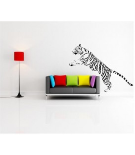 Jumping Tiger decorative wall art sticker, tiger wall decal.
