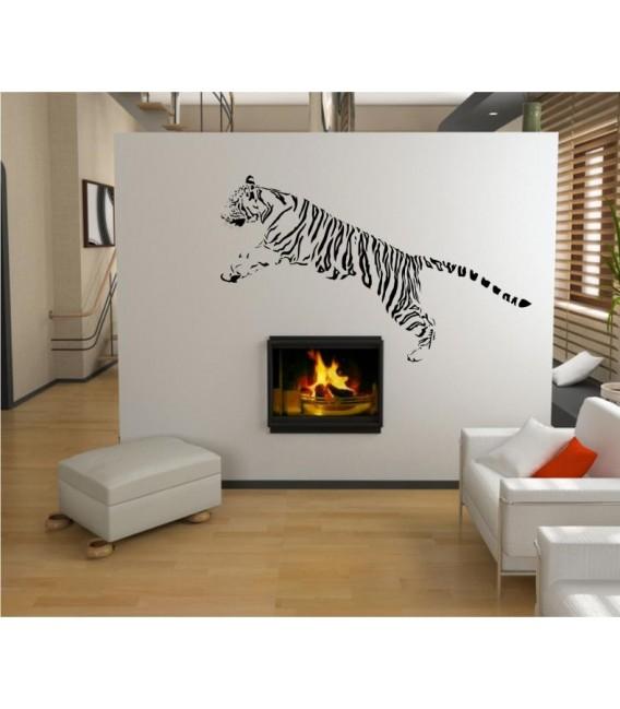 Jumping Tiger decorative wall art sticker, tiger wall decal.