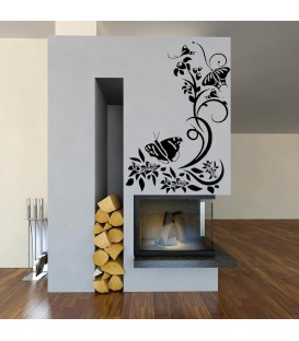 Butterflies on the plant wall decal, butterflies giant wall art sticker, butterflies painting stencil.