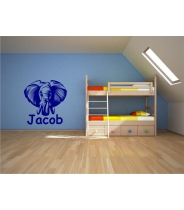 Elephant head personalised wall art sticker.