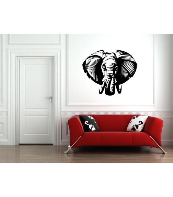 Elephant head personalised wall art sticker.
