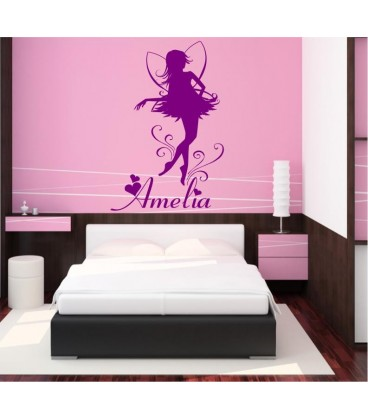 Fairy with a child's name bedroom wall stickers .