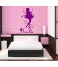 Fairy with a child's name bedroom wall sticker.