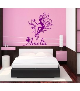 Sitting on the flower fairy personalised wall sticker.