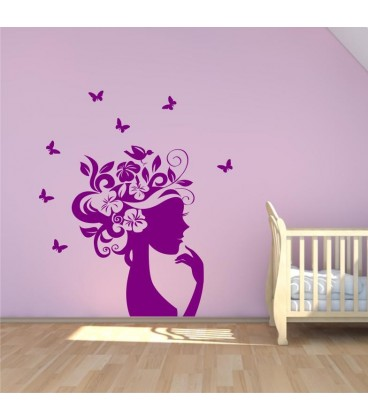 Flower Girl Wall Decal, Bubble Butterfly Wall Stickers, Wall Graphics.