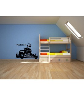 Personalised go-kart wall sticker, wall decal.